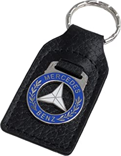 Triple-C Mercedes Leather and Enamel Key Ring Key Fob