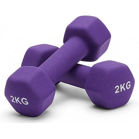 Albott Haltères en Néoprène Hex Dumbbells Paire d'haltères de 0.5KG 1KG 1.5KG 2KG 3KG 4KG 5KG dans Diffrents Poids, Fitness Musculation Sport Exercice Fitness, Entraînement à la Maison, Gym