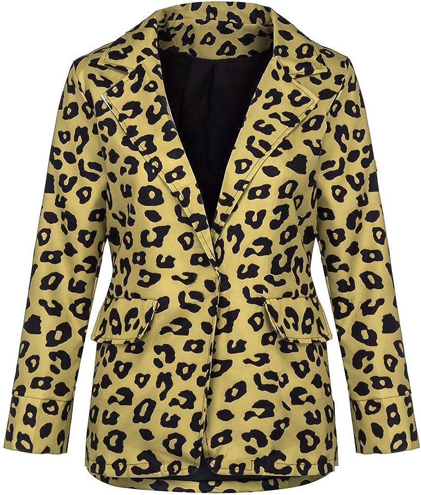WOZOW Office Ladies Single Breasted Casual Blazer Jacket for Fall Wear