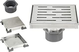 eModernDecor 6 Inch Shower Square Shower Floor Drain – Brushed 304 Stainless Steel – Bonus 2 IN 1 Reversible Insert & Flat Grate and Threaded Adaptor (6 Inch Stripe Pattern)