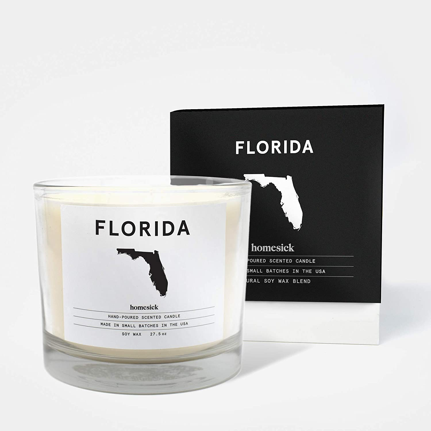 Homesick 3 Wick Scented Candle, Soy Wax - 27.5 oz (90 to 110 hrs Burn Time) Florida