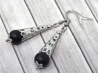 Orecchini da donna in acciaio inossidabile con cono in acciaio filigranato e perle di agata nera satinata
