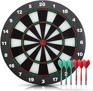 Lixada Safety Plastic Dart + 16.5 Inchs Game Dartboard Set,With 6 Bristle Darts - Staple-free Bullseye - with Rotating Num...