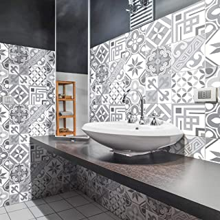 Stickers Carrelage Adhésif - Sticker Autocollant Carreaux de ciment – Décoration Murale Stickers Carrelage pour Salle de B...