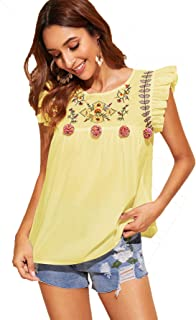Floerns Women's Sleeveless Ruffle Floral Embroidered Pom Pom Blouse Top