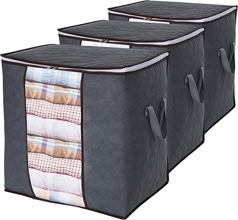Lifewit Large Capacity Storage Bag With Reinforced Handle Upgrade Fabric For Clothes Comforters Blankets Bedding Breathable Foldable Closet Organizer With Sturdy Zipper Clear Window Grey 3 Pack