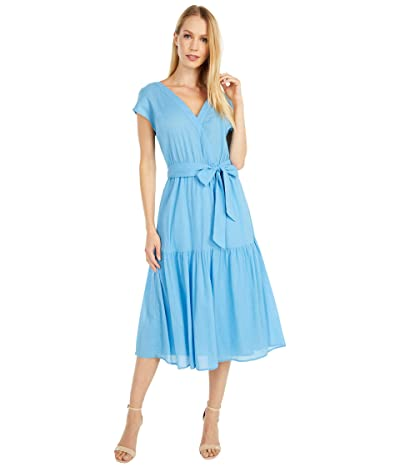 BB Dakota For A Good Gauze Cotton Crinkle Midi Dress (Surf Blue) Women