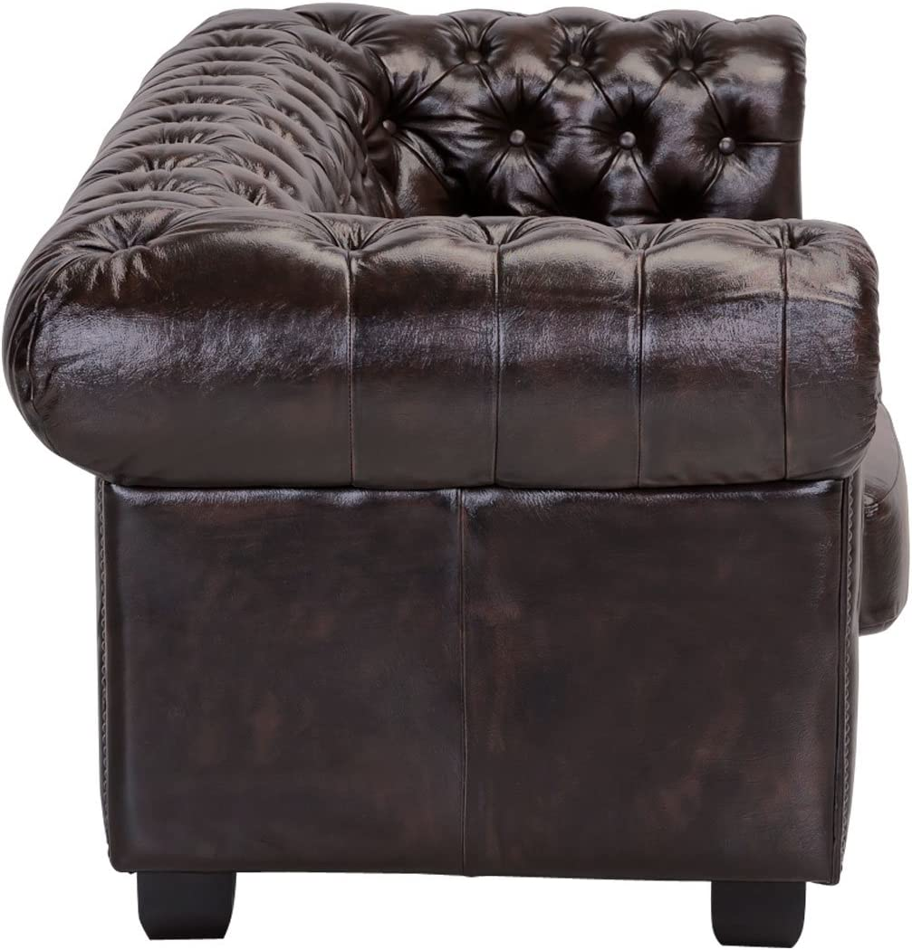 Woodkings® Chesterfield Sofa 10 Seater Vintage Genuine Leather Couch Office  Sofa Upholstered Furniture 10 Seater Antique Design Sofa Spring Core Unique  ...