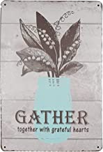 SKYC Gather Together with Grateful Hearts Vintage Metal Tin Signs Home Bar Shop Decorations Coffee Sign Wall Plaque Art Gift 8X12Inch