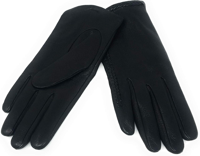 Michael Kors Detailed Deer Skin Leather Gloves, Black, Small