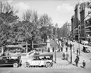 Restored Black & White Photo - Historic Los Angeles, California - Along Pershing Square, c1918-60in x 44in