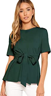 Women's Casual Self Tie Summer Round Neck Short Sleeve Blouse Tops