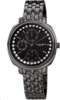Akribos XXIV Multifunction Elegant Women's Watch - Faux Pearls on Bezel with 3 Subdials, Month Date, Week Date and 24 Hr F...