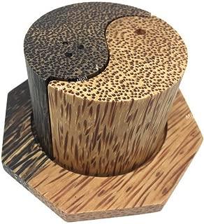 Set of 1 Salt Pepper Shaker Wooden Box Salt And Pepper Storage Kitchenware Handmade Holder Yin Yang shape (palm wood) K011
