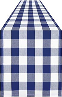 Syntus 14 x 108 inch Buffalo Check Table Runner Cotton-Polyester Blend Handmade Blue and White Plaid for Family Dinner, Ou...