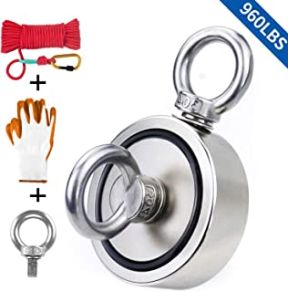 Fishing Magnet with Rope & Gloves, 960lbs Pulling Force Double Sided Super Strong Round Rare Earth Neodymium Magnet with Eyebolt for Magnetic Fishing, River, Lake, Salvage, 2.95