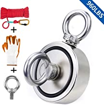 """Fishing Magnet with Rope & Gloves, 960lbs Pulling Force Double Sided Super Strong Round Rare Earth Neodymium Magnet with Eyebolt for Magnetic Fishing, River, Lake, Salvage, 2.95"""" Diameter"""