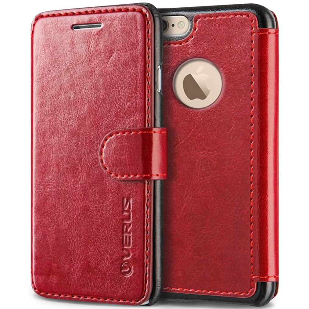 VRS Design [Wine Red] Premium Leather Folio Case Flip Wallet Cover [Layered Dandy] Classic Leather with 3 Card Slots Phone Case for Apple iPhone 6 Plus / iPhone 6s Plus