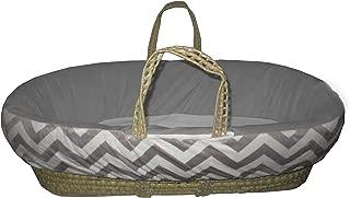 Baby Doll Minky Chevron Moses Basket, Grey