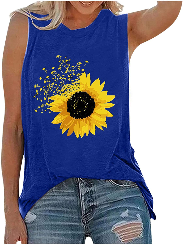 FABIURT Womens Tank Tops Graphic,Women's Sunflower Graphic Tank Tops Letter Print Sleeveless Casual Cotton T Shirts