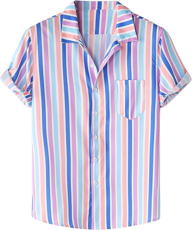 Shirt for Men Casual Summer Hawaiian Shirt Floral Printing T-Shirt Short Sleeve Shirts Blouse S-3XL