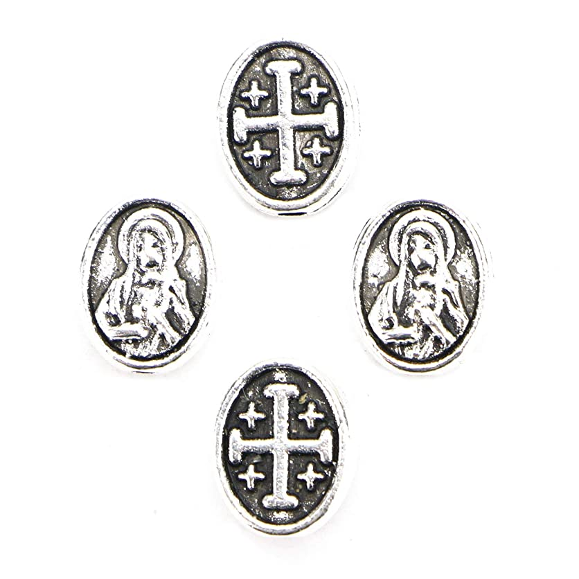 Monrocco 100 pcs Cross Beads Silver Mary Cross Spacer Beads 8mm yjel96105