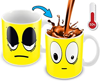 Funny Coffee Mug | 11 Ounce Ceramic Heat Sensitive Color Changing Cup | Novelty Unique Coffee Mug With A Funny Yellow Smiley Face | Fun Gift For Woman Or Man, Kid | 11 Oz Ceramic Coffee Mug