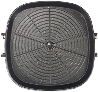 Korean-style Square Grill Pan with Maifan Stone Coated Surface,Non-stick Smokeless Barbecue Stovetop Plate for Indoor Outd...