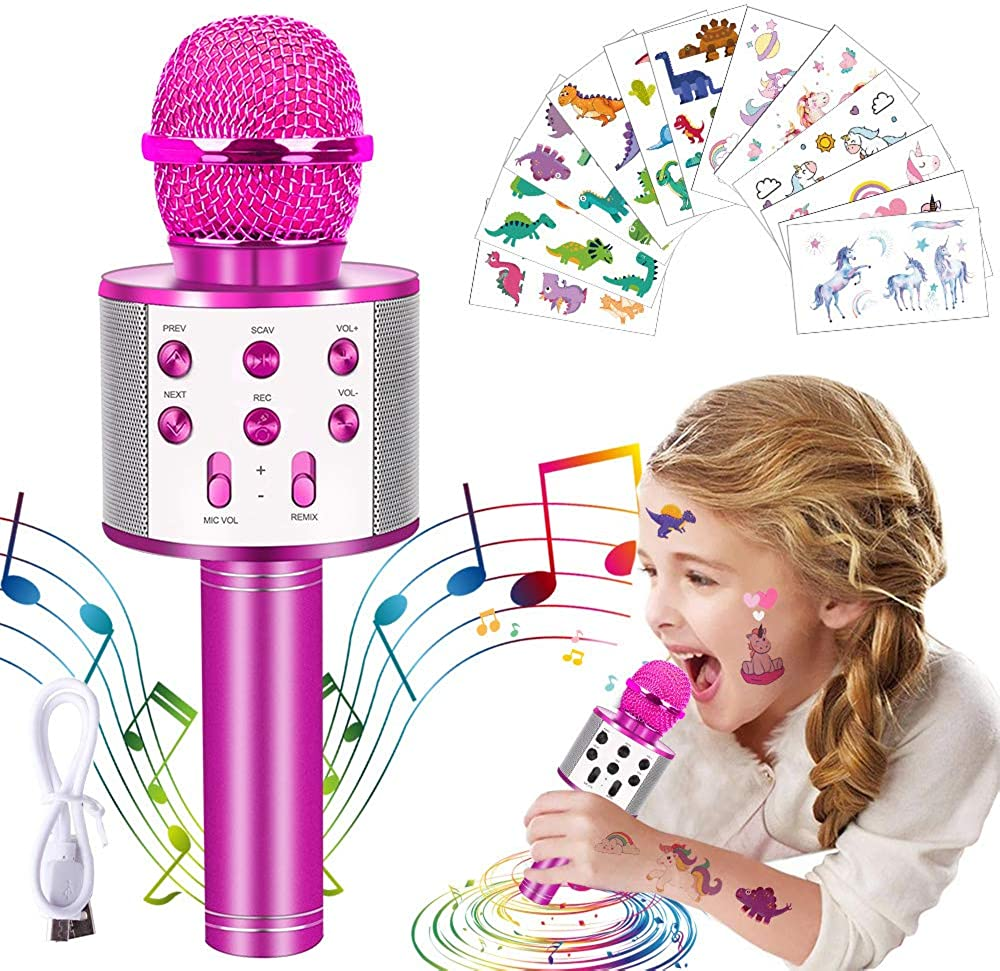 OuOnDaD It is very popular Free shipping New Wireless Bluetooth Karaoke Microphone 65Pcs with Unicorn