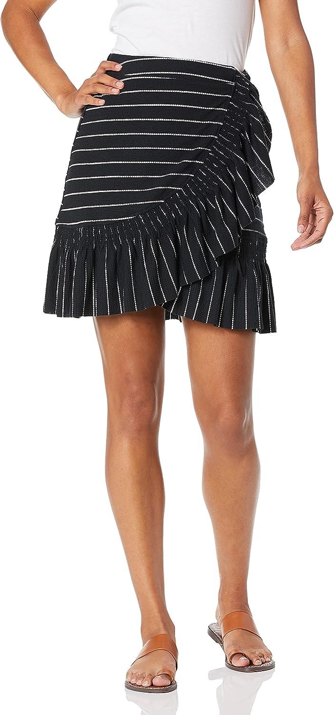 Moon River Women's Striped Wrap Ruffle Hem Knit Skirt