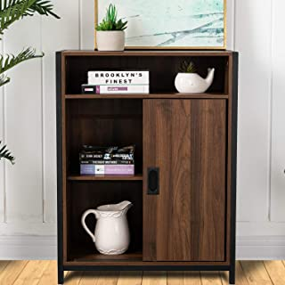 Glitzhome Floor Cabinet Storage Sideboard Buffet Storage Cabinet Modern Bar Cabinet Storage Cabinet with Doors and Adjustable Shelf Freestanding Buffet Cabinet for Entryway Kitchen, 32 Inch, Brown