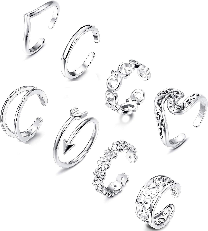 THUNARAZ 8Pcs Open Toe Ring for Women Toe Ring Set Adjustable Cute Band Ring Set Foot Jewelry