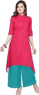 Florence Pink Slub Cotton Embellished Stitched Kurtis with Palazzo(FL-KT-129-PZ-10)