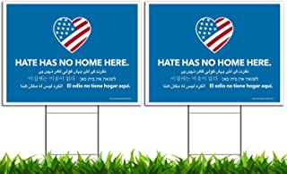 Best VIBE INK Large 24x18 Hate Has No Home Here Yard Sign - UV Inks, Double-Sided, Waterproof, Made in The USA - Metal Stake Included! (2) Review