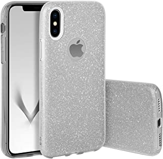 Qult Carcasa para Móvil Compatible con Funda iPhone XR Brillante Silicona Dura Bumper Teléfono Brillar Purpurina Silver Caso para iPhone XR Plata