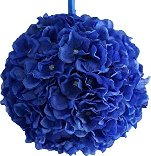 BalsaCircle 4 pcs 7-Inch Royal Blue Hydrangea Kissing Flower Balls - Artificial Flowers Wedding Centerpieces Arrangements Bouquets Supplies