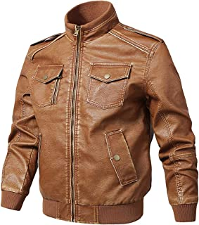 Nantersan Men's Vintage Stand Collar Biker Leather Jacket Distressed Classic Motorcycle PU Faux Leather Outwear