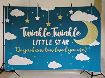 New Baby Shower Backdrop for Photography 7x5ft Little Star ue Watercolor Kids Newborn Birthday Party Background Photo Booth Studio Props Vinyl Customized MB310