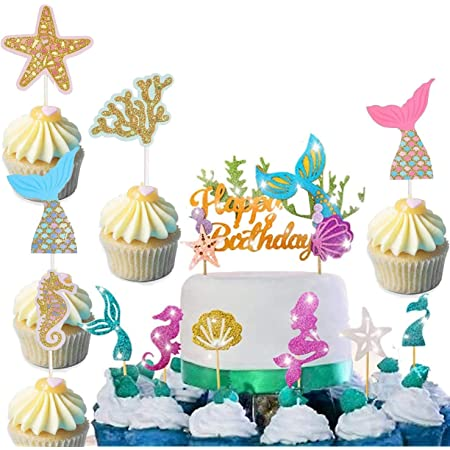 Jiahuade Mermaid Cake Topper,Sirena Topper Torta,Mermaid Topper,Cupcake Toppers Decorazione per Bambini Bambini Compleanno Festa (A)