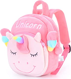Gloveleya Unicorn Backpack for Girls Kids Backpack Plush Toy Gifts for Kids Baby Napkins Books Bottles Double Layer Bag Pi...