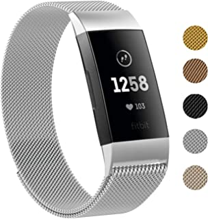 Keasy Replacement Bands Compatible for Fitbit Charge 3,  Stainless Steel Magnetic Metal Wristbands with Magnet Lock for Women Men