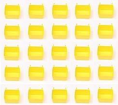 Kleine Plastic Pegboard Opslag/Onderdelen Bins - Multi-Pack - Rood, Geel of Zwart (25, Geel)