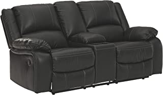Signature Design by Ashley - Calderwell Contemporary Faux Leather Double Reclining Loveseat - Console - Black