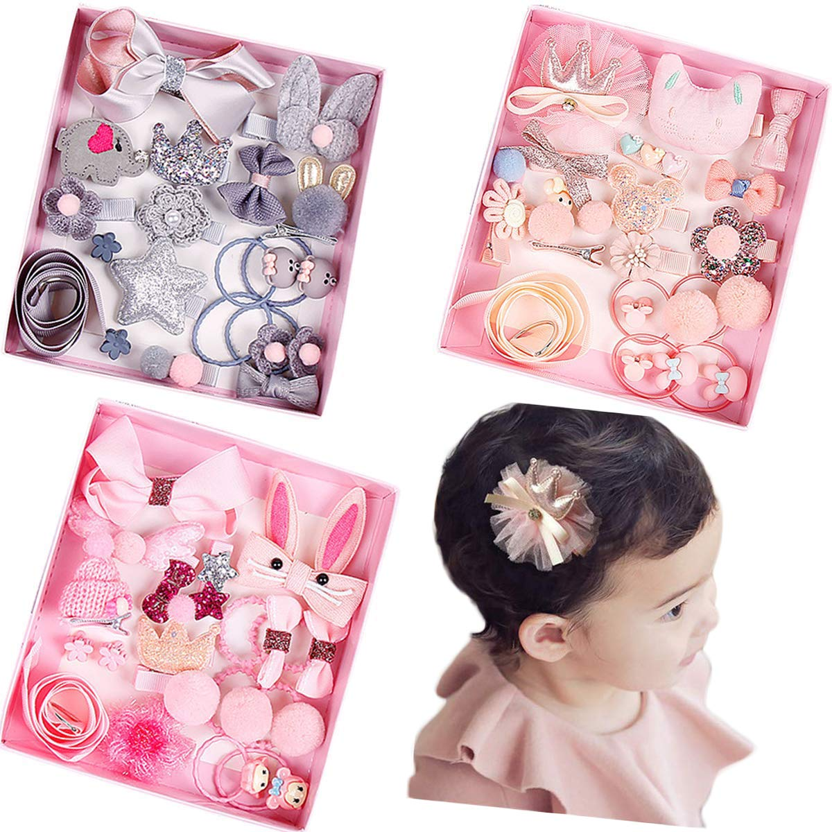 JOYOYO 54 Pieces Baby Girls Bows Fully Lined Hair Clips Baby Hair Ties Ponytail Holders for Little Girls