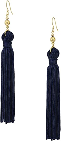 Kenneth Jay Lane - Polished Gold Bead and Navy Tassel Fishhook Earrings