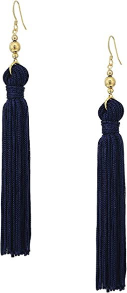 Polished Gold Bead and Navy Tassel Fishhook Earrings