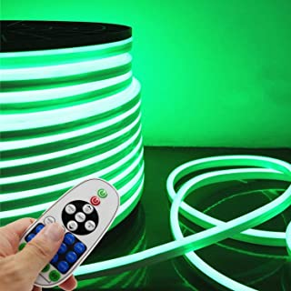 LED NEON Light, IEKOV™ AC 110-120V Flexible LED Neon Strip Lights, 120 LEDs/M, Dimmable, Waterproof 2835 SMD LED Rope Light + Remote Controller for Party Decoration (32.8ft/10m, Green)