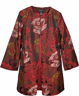 Women's Red Floral Jacquard Jacket Topper