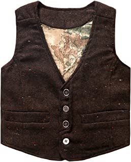 Boys' Girls' Map Lined Pockets Buttons V Collar Vests (2-16 Years)