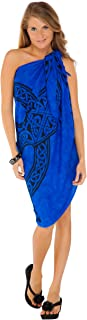 1 World Sarongs Womens Celtic Cover-Up Sarong Celtic Cross Royal in Blue